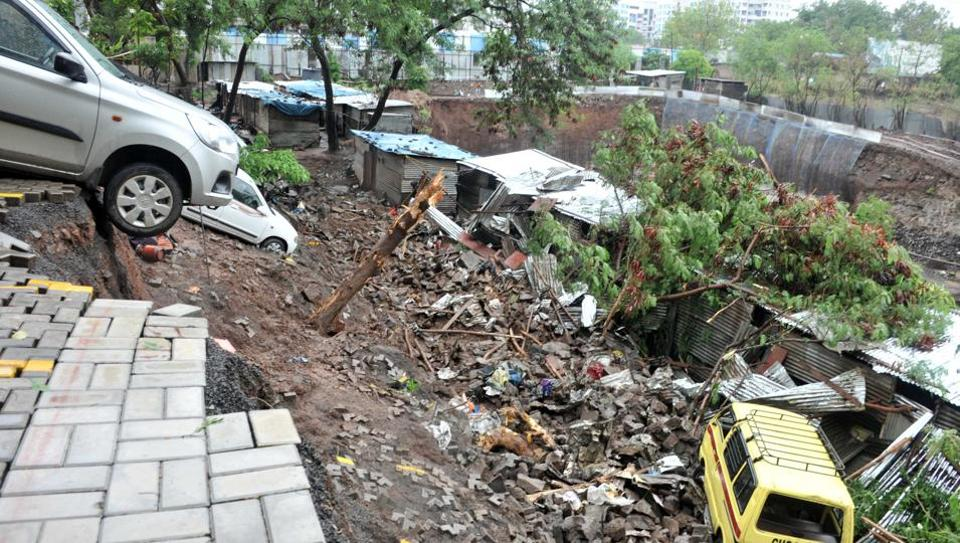 Wall collapse at Alcon Stylus at Kondhva in Pune, India, on Saturday, June 29, 2019.