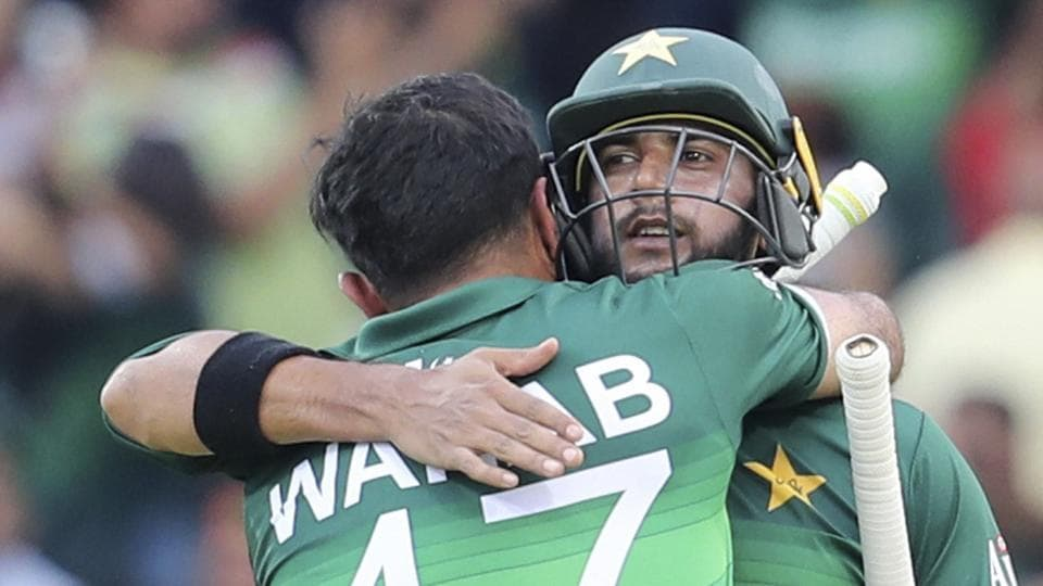 Leeds: Pakistan's Imad Wasim, right, and Wahab Riaz congratulate each other after their team's victory