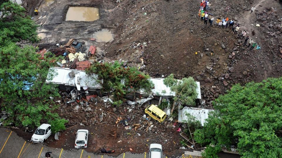 Retaining wall of Alcon Stylus housing society in Kondhwa area of Pune city collapsed post-midnight Saturday on labourers' shanties set up at an adjacent under construction site.