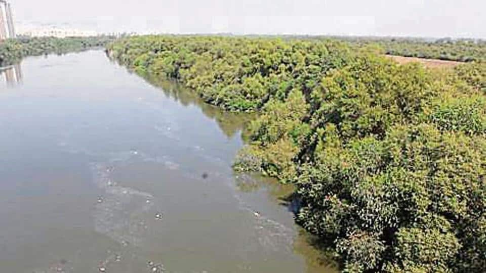 Aerial view of Thane Creek in Thane, India