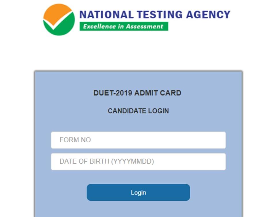 DUET 2019:Delhi University entrance test admit card released
