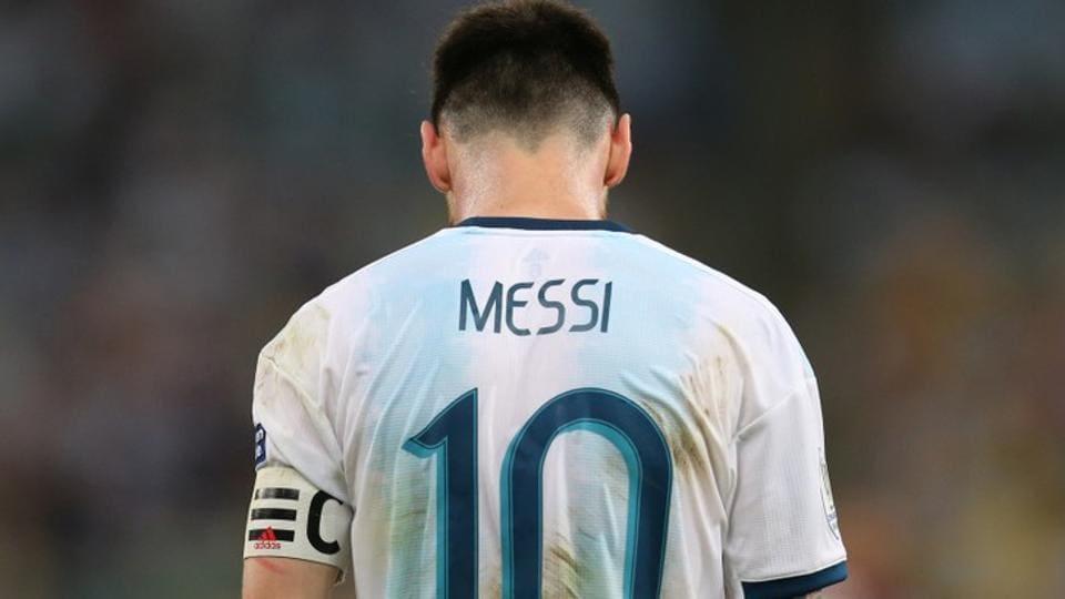 Argentina's Lionel Messi reacts.