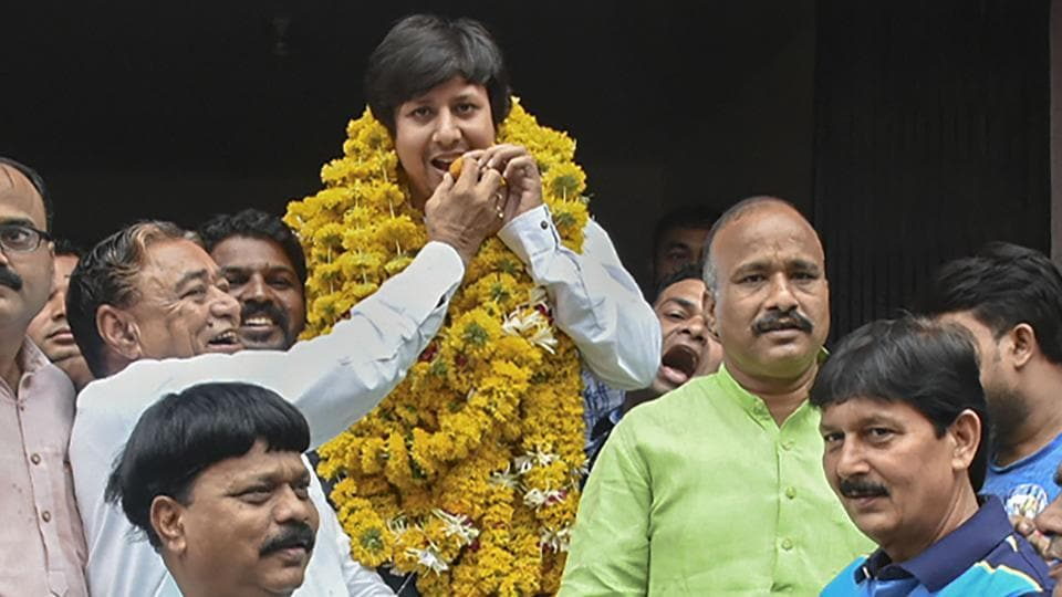 BJP MLA Akash Vijayvargiya is garlanded after being released from the district jail, three days after being arrested for assaulting a civic official in Indore with a cricket bat, in Indore, Sunday, June 30, 2019.