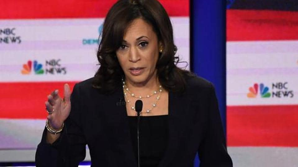 Democratic presidential hopeful US Senator for California Kamala Harris speaks during the second Democratic primary debate of the 2020 presidential campaign season hosted by NBC News.