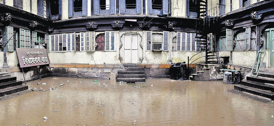 The heavy rainfall has left the 200-year-old Grade one heritage site sinking with drainage water geeting accumulated in the courtyard.