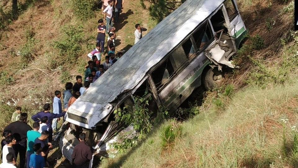 A bus, with most of its passengers as school children, fell into a gorge in Himachal Pradesh's Shimla district, killing at least four people.