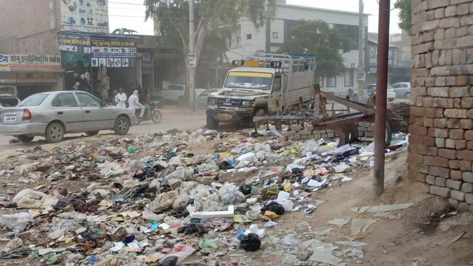 Garbage lying uncleared at the roadside in Abohar on Sunday, June 30, 2019.