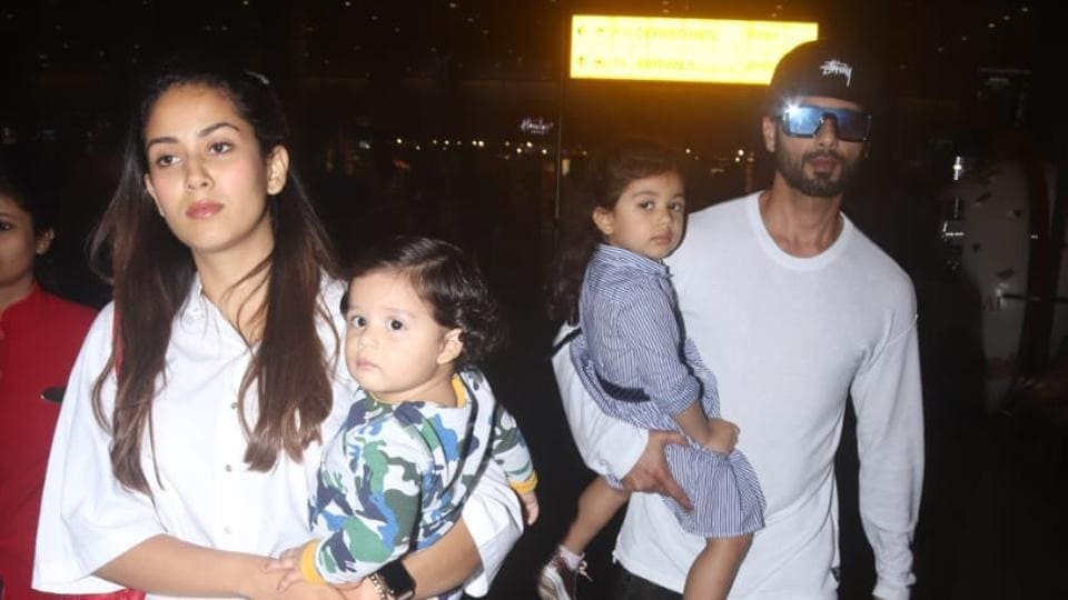 Shahid Kapoor, Mira Rajput with kids Misha and Zain at Mumbai airport.