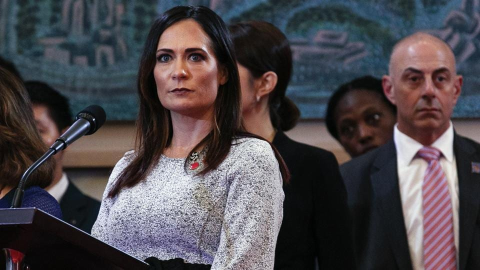 White House press secretary Stephanie Grisham at a news conference by President Donald Trump and South Korean President Moon Jae-in at Blue House in Seoul, South Korea on Sunday.