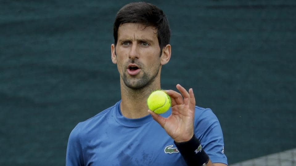 Novak Djokovic during a practice session ahead of the Wimbledon Tennis Championships.