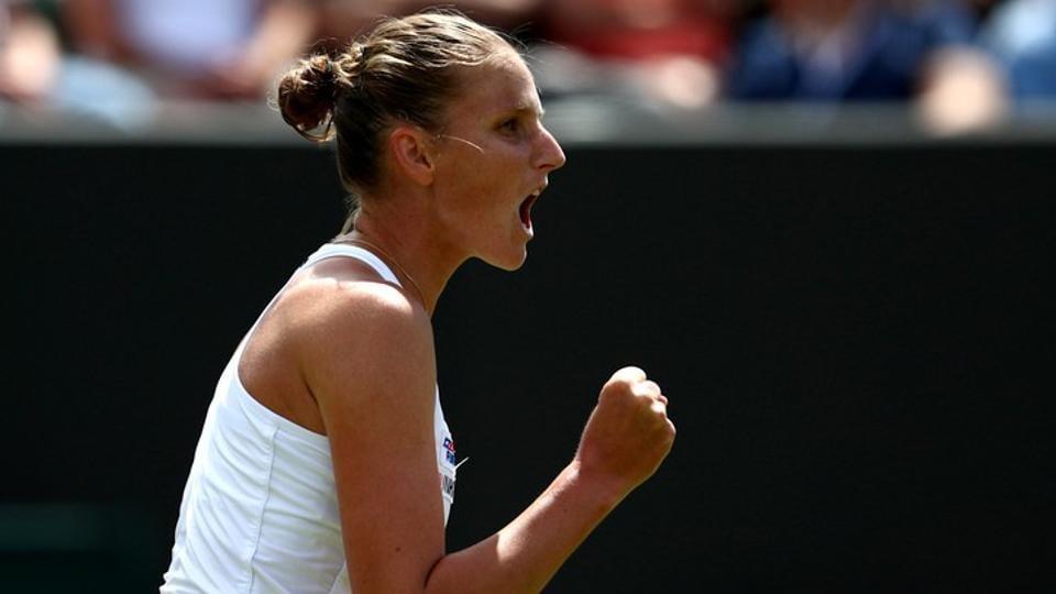 Czech Republic's Karolina Pliskova reacts during her first round match .