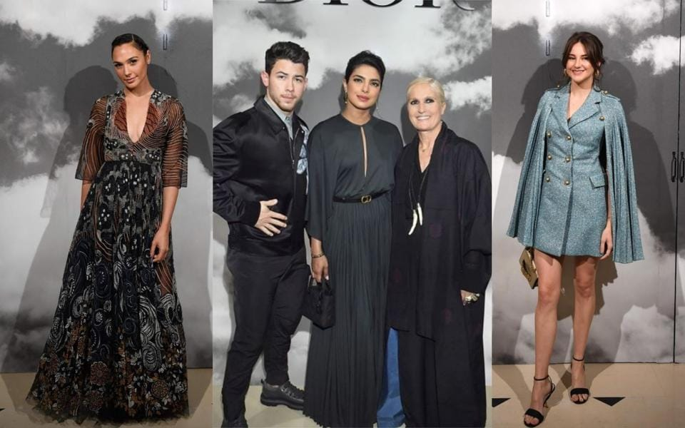 Gal Gadot, Nick Jonas, Priyanka Chopra and Shailene Woodley (right) at Christian Dior Women's Fall-Winter 2019/2020 Haute Couture collection fashion show in Paris, on July 1, 2019.