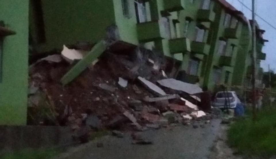 Three blocks of a building complex  on the outskirts of Aizawl collapsed due to landslide.