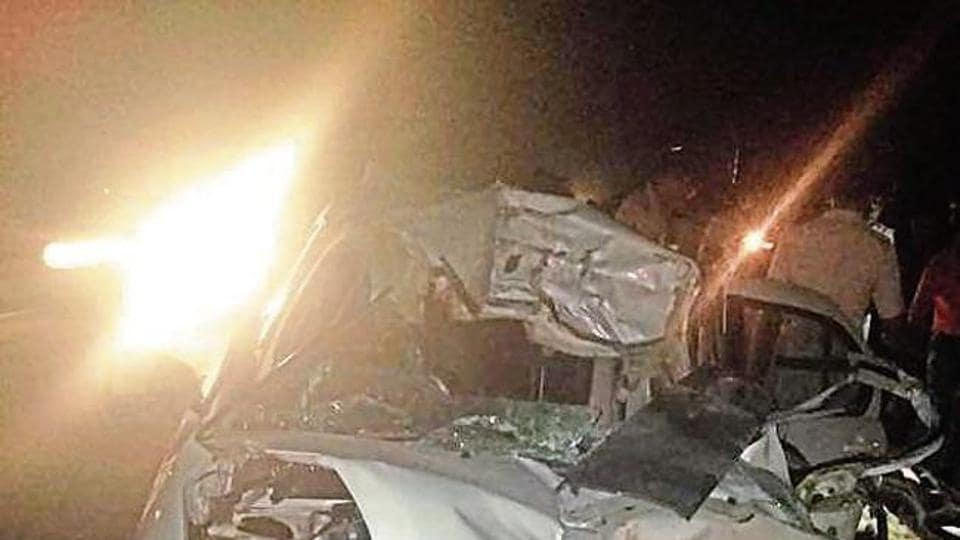 Five members of a family were killed when the car they were travelling in rammed into a truck near Sahuwala village of Sirsa on late Sunday night.