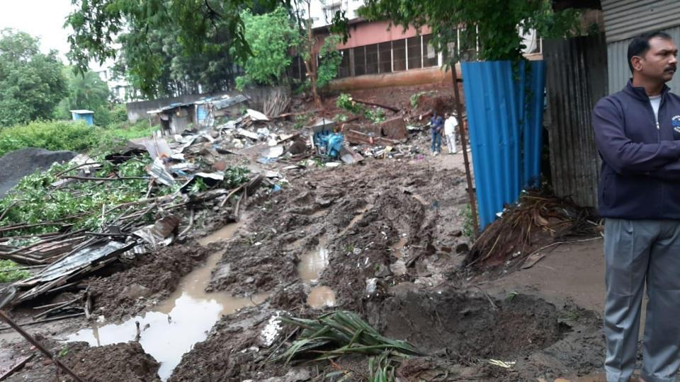 Following incessant rains, a retaining wall of Sinhgad institute at Ambegaon area of Pune collapsed post midnight on shanties housing workers