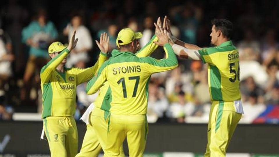 Australian players celebrate the fall of a match during an ICC World Cup 2019 match.