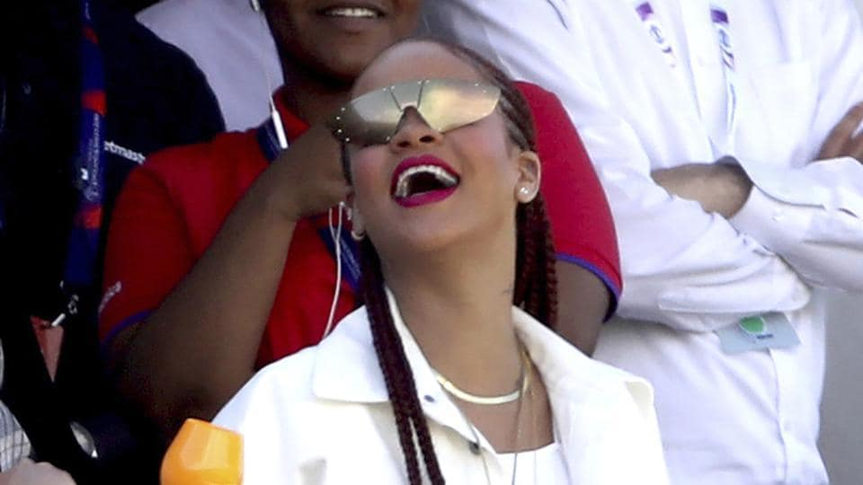 Singer Rihanna watches the action from the stands at the Riverside Ground.