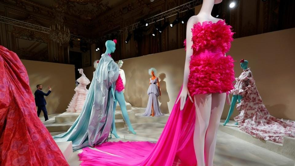 Creations are displayed during an exhibition by designer Giambattista Valli as part of his Haute Couture Fall/Winter 2019/20 collection presentation in Paris, France, July 1, 2019. REUTERS/Regis Duvignau