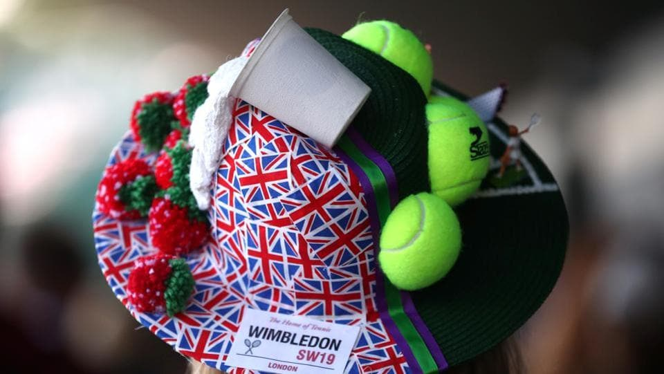 A spectator's ornate hat at All England Lawn Tennis and Croquet Club on Monday. In recent years, the dress code for spectators has become more relaxed but dressing smartly is still an unofficial expectation. Those in the Royal Box in particular are asked not to wear hats, in case it blocks the view of others around them. (REUTERS)