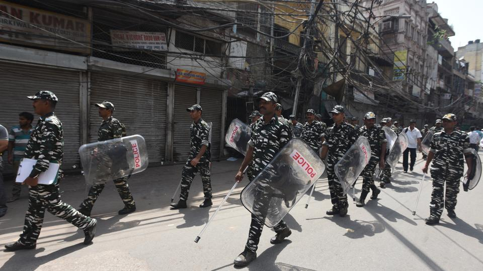 Police seen patrolling after the clashes broke out over a parking issue, at Lal Kuan Bazar, near Chawri Bazar, in Delhi, on Monday, July 01, 2019.
