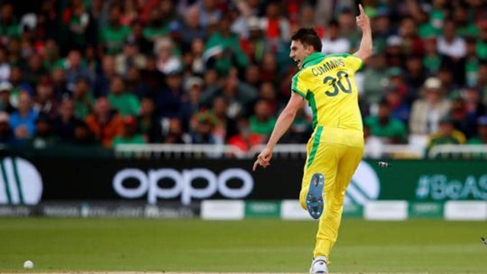 Australia's Pat Cummins celebrates after Aaron Finch ran out Bangladesh's Soumya Sarkar in the ICC World Cup.