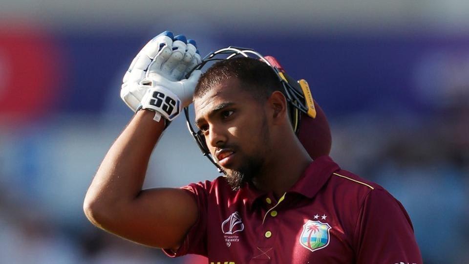 West Indies' Nicholas Pooran reacts after losing his wicket