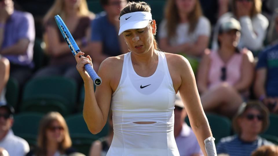 Maria Sharapova in action during Wimbledon.