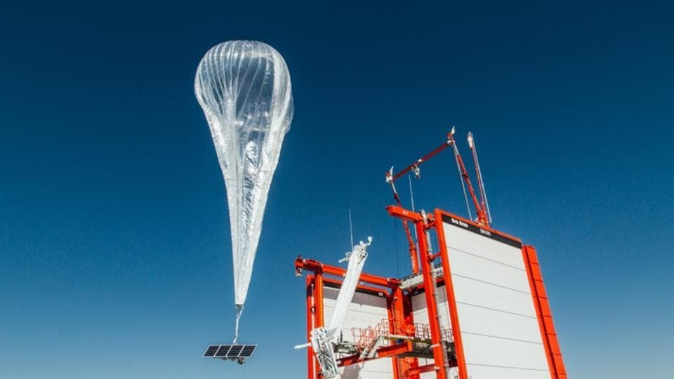 A Loon internet balloon, carrying solar-powered mobile networking equipment flies over the company's launch site in Winnemucca, Nevada, U.S., in this photo provided June 27, 2019.