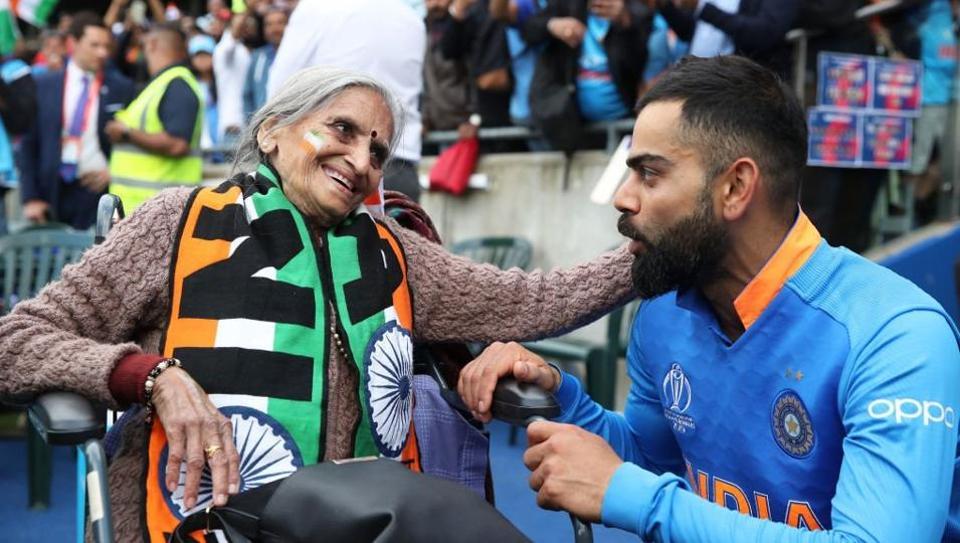 India vs Bangladesh, World Cup 2019: Virat Kohli meeting super fan Charulata Patel.