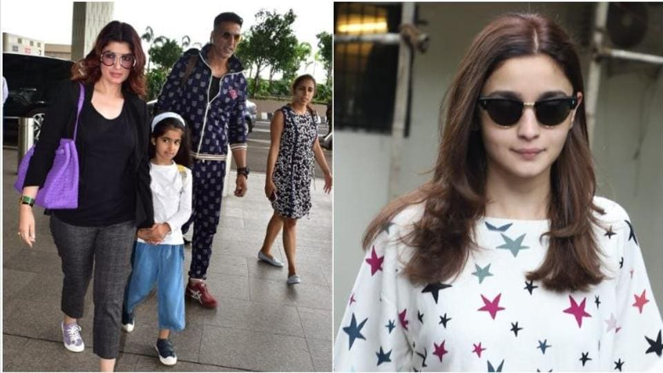 Akshay Kumar, Twinkle Khanna and daughter Nitara at airport and Alia Bhatt on an errand run.