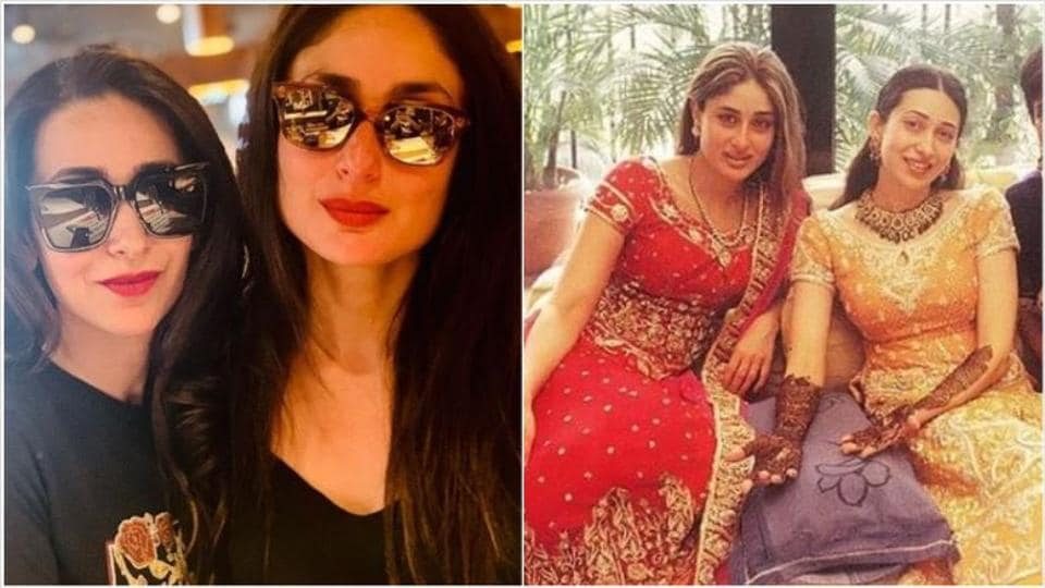 Kareena Kapoor and Karisma Kapoor now and at her wedding 16 years ago.