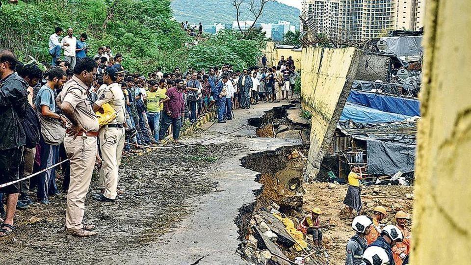 Boundary wall collapse of Sanjay Gandhi National Park at Pimpripada,Kurar Village,Malad in Mumbai.