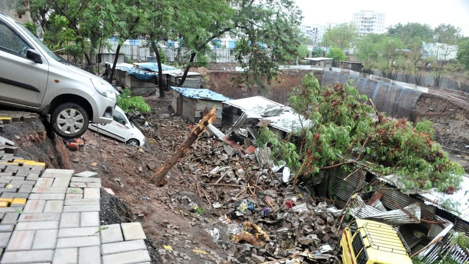 Wall collapse at Alcon Stylus at Kondhwa in Pune on June 29.