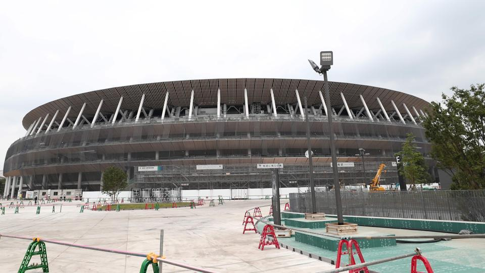 This picture shows a general view of the new National Stadium under construction, a venue for the upcoming Tokyo 2020 Olympic Games, in Tokyo.