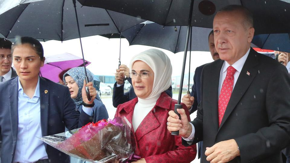 The censure comes as photos of the First Lady's arrival at the Imperial Palace in Tokyo with Erdogan caught the attention of social media users.