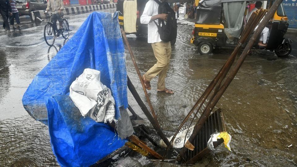 A pothole near Andheri station in Mumbai, Tuesday, July 2, 2019.
