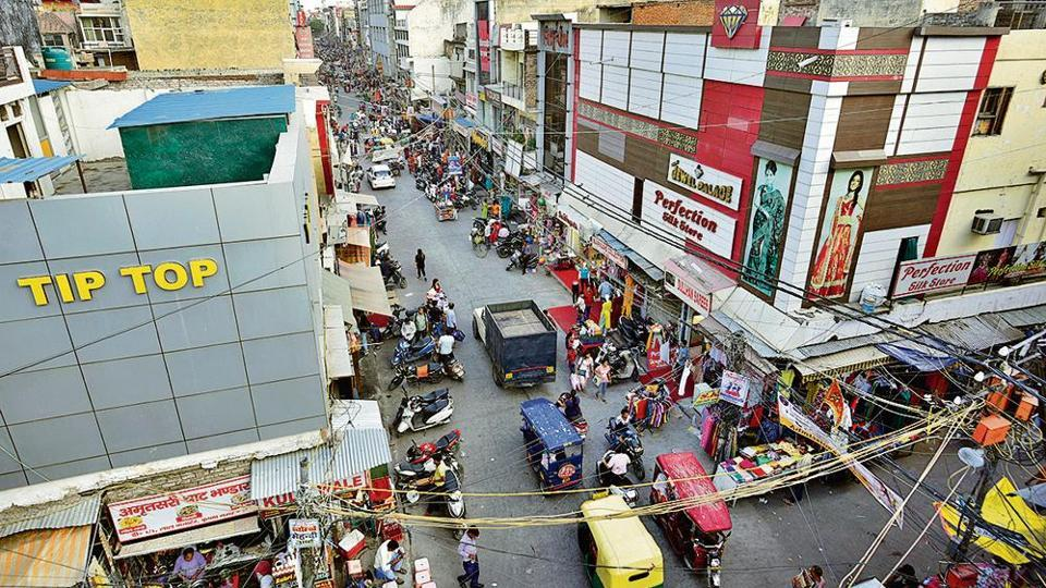 An aerial view of the Lal Quarter Market, at Krishna Nagar area, in New Delhi, India.
