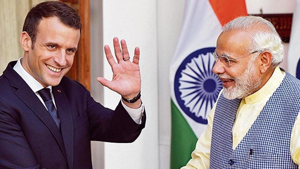 Prime Minister Narendra Modi with French President Emmanuel Macron in March 2018.