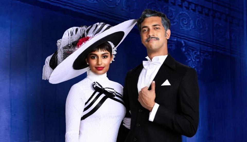 Kira Narayanan and Varun Narayan as Eliza Doolittle and Professor Henry Higgins.