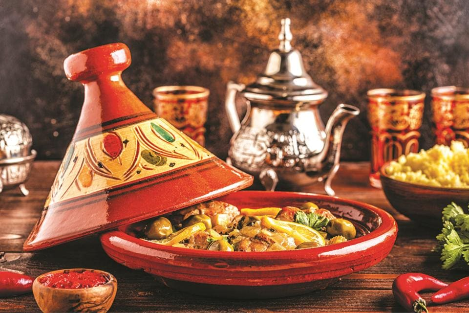 Tagine, a Moroccan dish named after the earthen tagine pot