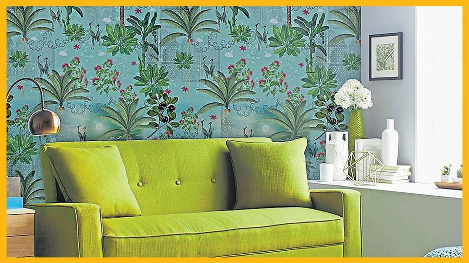Add a botanical touch by putting up wallpaper on one wall. The artwork by Urban Karigars can add to the look.