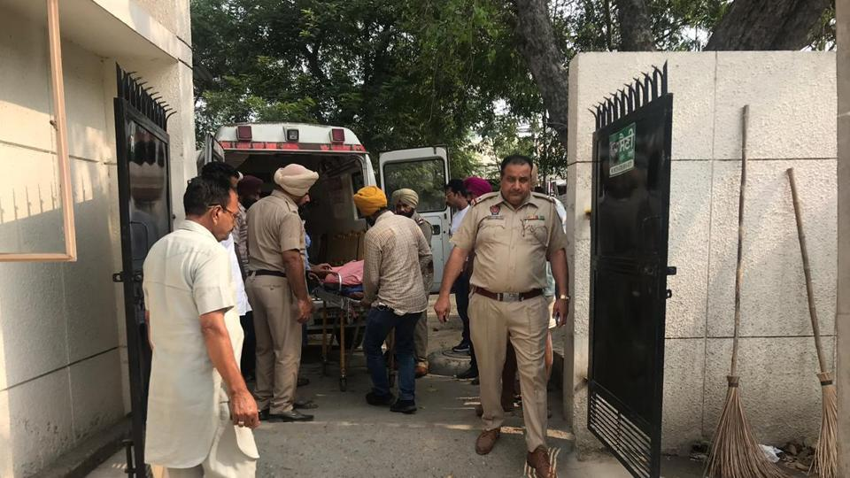 The body of Anmolpreet Singh being removed from an ambulance at a hospital in Ludhiana on Wednesday, July 3, 2019.