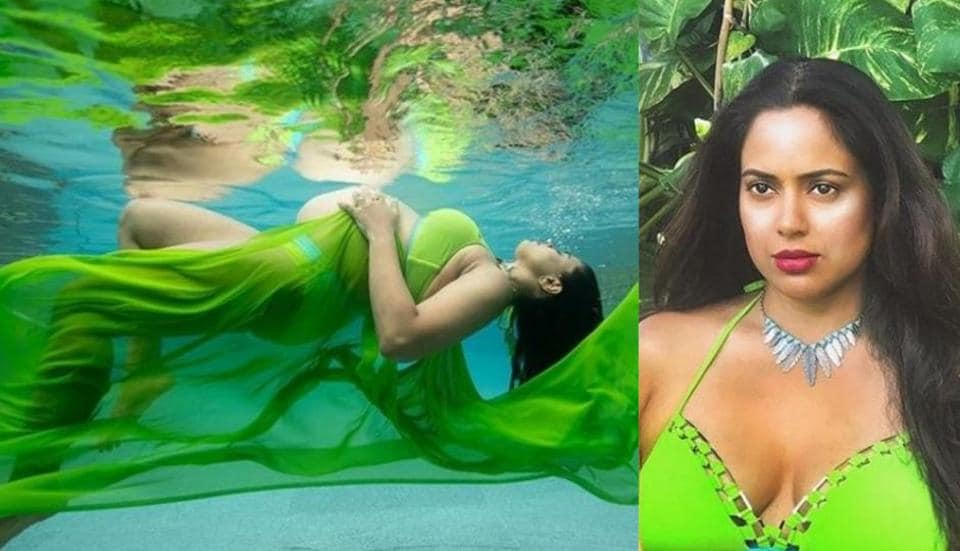 Sameera Reddy bares baby bump in bikini for stunning underwater photoshoot. See pics