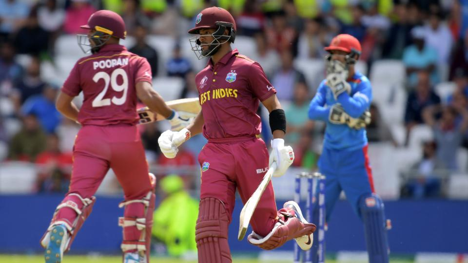 West Indies' Shai Hope runs between wickets during the 2019 Cricket World Cup group stage match.