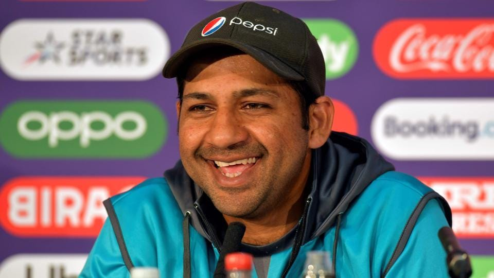 Pakistan's captain Sarfaraz Ahmed attends a press conference at Lord's cricket ground.