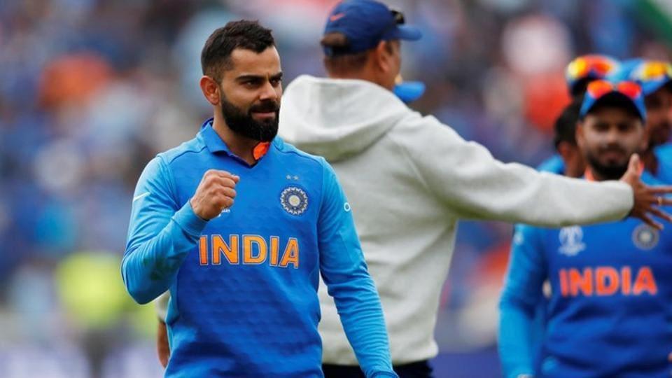 India's Virat Kohli celebrates at the end of the match.