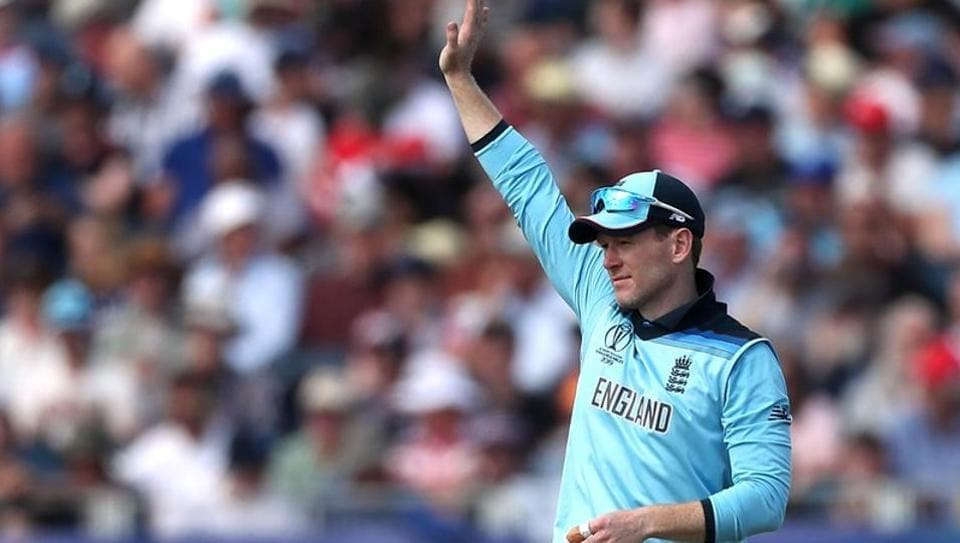 England's Eoin Morgan gestures during the match
