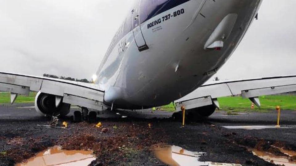 SpiceJet SG 6237 overshot runway while landing at Mumbai Airport on Tuesday.