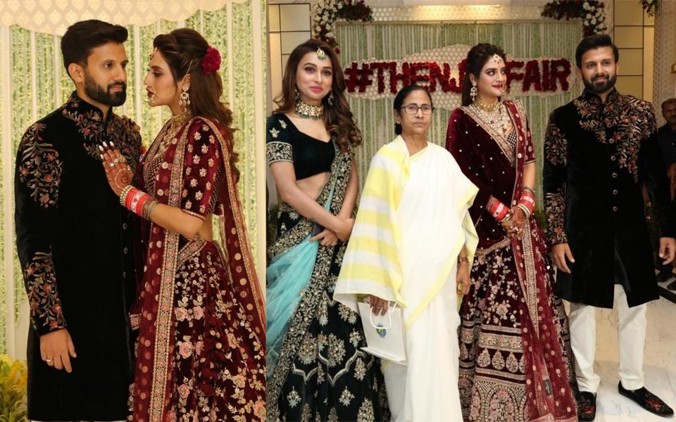 West Bengal Chief Minister's Mamata Banerjee and Trinamool Congress MP Mimi Chakraborty at the wedding reception of Nusrat Jahan and Nikhil Jain in Kolkata on July 4, 2019.
