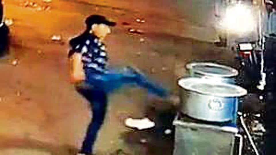 The suspect was also spotted vandalising the eatery in the video.
